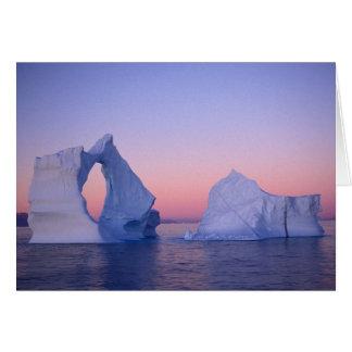 Greenland, Iceberg at sunset. Greeting Card