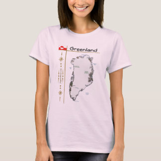 Greenland Map + Flag + Title T-Shirt