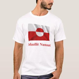 Greenland Waving Flag with Name in Kalaallisut T-Shirt