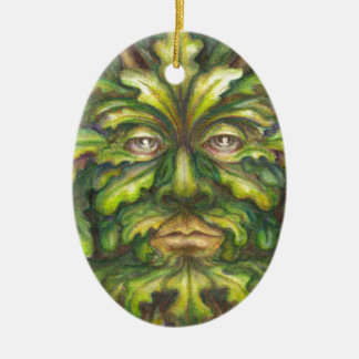 Greenman Double-Sided Oval Ceramic Christmas Ornament