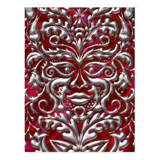 GreenMan in liquid silver damask  red satin print Postcard