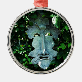 Greenman In the Leaves Silver-Colored Round Decoration