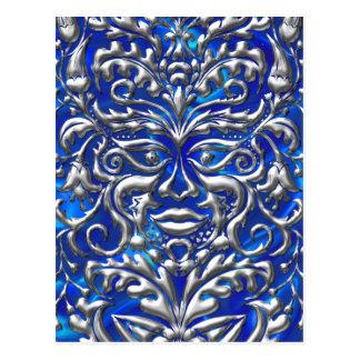 GreenMan liquid silver damask on blue satin print Postcard