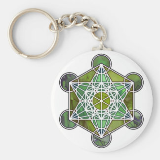GreenMetatronCube Basic Round Button Key Ring