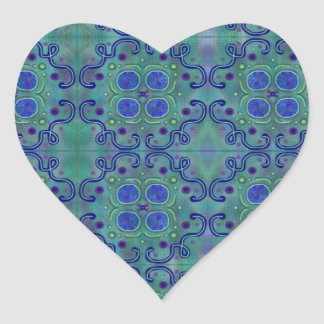 Greens and blues heart sticker