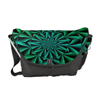 Greens and Blues Round Optical Illusion Courier Bags