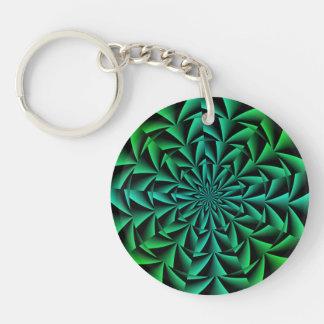 Greens and Blues Round Optical Illusion Single-Sided Round Acrylic Key Ring