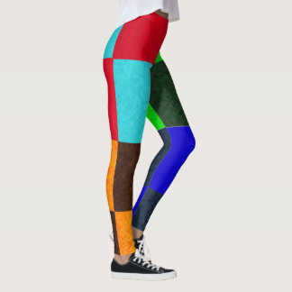 Greens Blue Browns Checks Pattern, Leggings