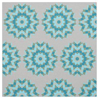 Greens Blues Turquoise Starburst Circle Design Fabric