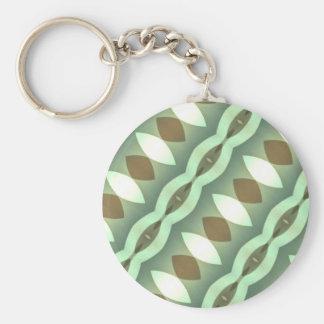 Greens Modern Diamonds Diagonal Basic Round Button Key Ring