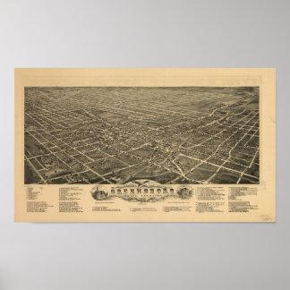Greensboro N. Carolina 1891 Antique Panoramic Map Poster