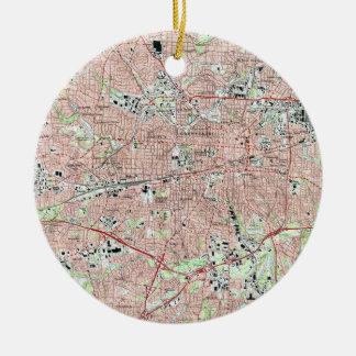 Greensboro North Carolina Map (1997) Christmas Ornament