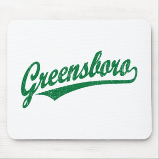 Greensboro script logo in green distressed mouse pad