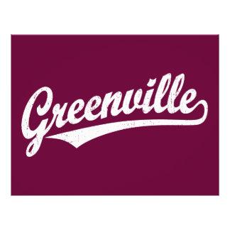 Greenville script logo in white distressed flyer design