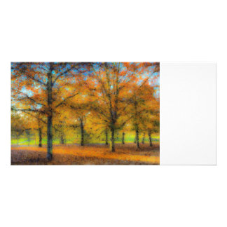 Greenwich Park Autumn Art Customised Photo Card