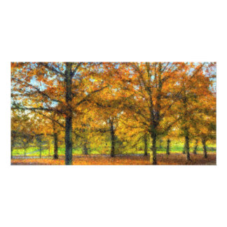 Greenwich Park Autumn Art Personalised Photo Card