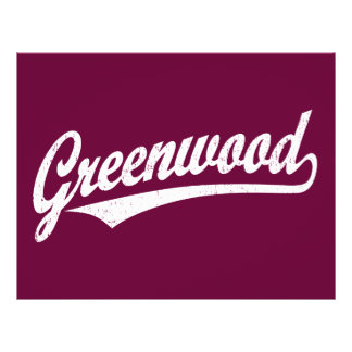 Greenwood script logo in white distressed full color flyer
