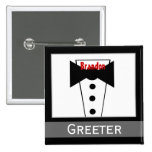 Greeter -  Custom Name Tux Wedding Button