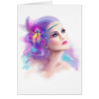 Greeting Card beautiful woman portrait abstract