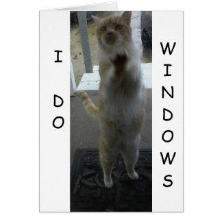 GREETING CARD: Cat Standing Against Window Greeting Card