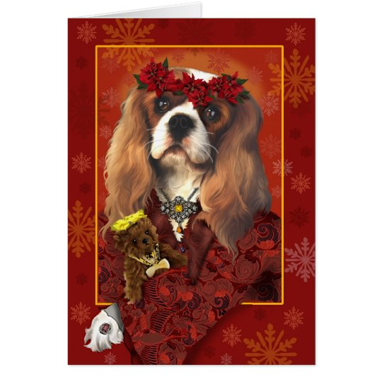 Greeting card, Christmas, cavalier spaniel Card
