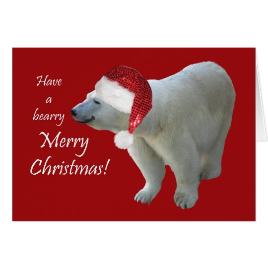 Greeting Card Christmas Polar Bear Santa