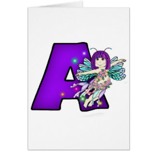 Greeting Card Cute Fairy Letter A