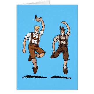 Greeting Card Dancing Bavarian Lederhosen Men