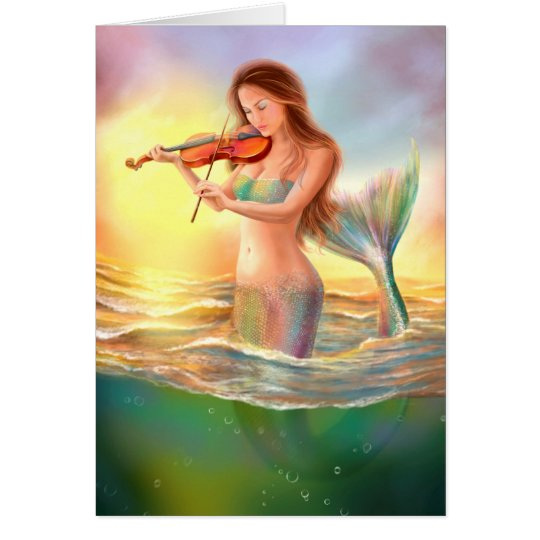 Greeting Card fantasy mermaid plays on violin