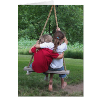 "Greeting Card: ""Friendship"" Girls on a Swing Card"