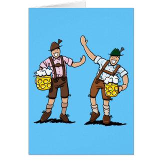 Greeting Card Happy Lederhosen Men Beer Stein