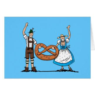 Greeting Card Happy Oktoberfest Couple Pretzel