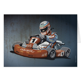 Greeting Card Motor Racing Go-Kart Driver Grunge