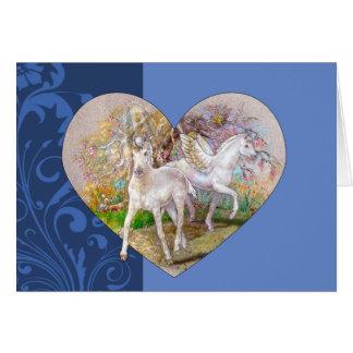 Greeting Card - Pegasus Unicorn Heart