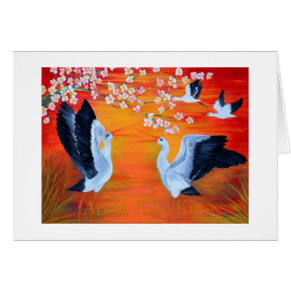Greeting Card. Storks and Cherry Blossom Greeting Card