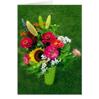 Greeting Card: Sunflower & Zinnia's Bouquet Card