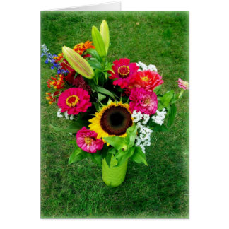 Greeting Card: Sunflower & Zinnia's in a Vase Greeting Card