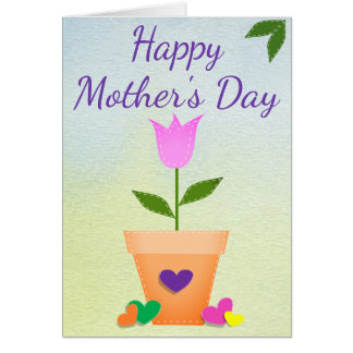 Greeting Card Tulips Hearts Mother's Day Customize