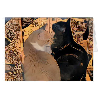 Greeting Card with Cats, Greek Design, Blank