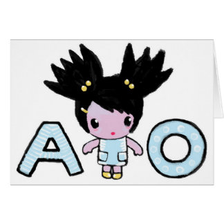 Greeting card with character Amy and letters A & O