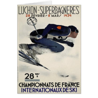 Greeting Card with Cool Ski Poster from France