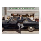 Greeting Card with Cool Vintage Cop Illustration