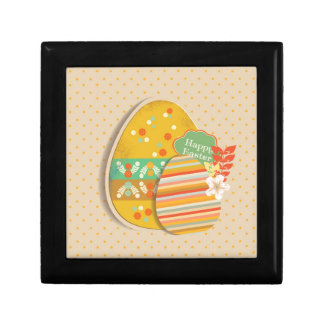 Greeting card with Easter egg symbol Small Square Gift Box