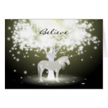Greeting Card with Fluorescent Tree and Unicorn