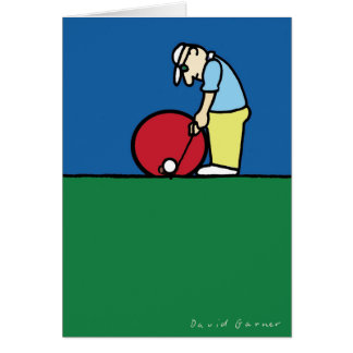 Greeting card with golfer illustration