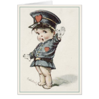 Greeting Card with Illustrated Love Police Baby