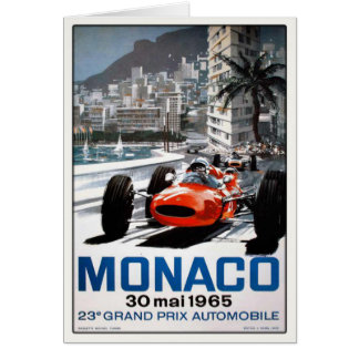 Greeting Card With Monaco Grand Prix Poster