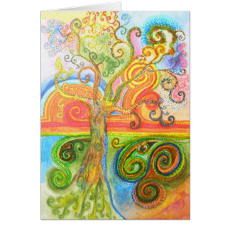 Greeting card with Psychedelic Tree Design
