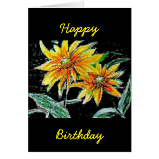 Greeting Card with Sunflower Art