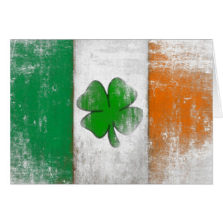 Greeting Card with Vintage Irish Flag